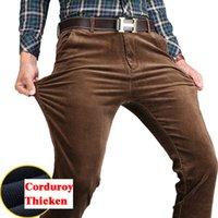 siyah pamuklu rahat pantolon erkekler toptan satış-Kadife Pantolon Erkekler Kış Rahat Pantolon Siyah Haki Pamuk Sıcak Düz Streç Erkek Kalın Kadife Pantolon Büyük Boy 40 42