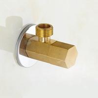 valve de toilette achat en gros de-Finition Or Laiton Angle Remplissage Valve Salle De Bains Pièces De Plomberie Stop Valve Toilette Salle De Bains Valve