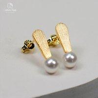 ana mücevherat toptan satış-Pearl 925 Gümüş Küpe Kız Altın Renk Basit Deldi Luxury Jewellery Kadın Anne Lotus Eğlence Stud Küpe