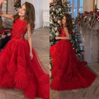 Wholesale white feather pageant dress resale online - 2020 Charming New Girls Pageant Dresses Red Lace Appliques Crystal With Feather Kids Sweep Train Flower Girls Dress Christmas Birthday Gowns