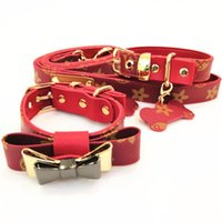 Wholesale dog collars leashes bows resale online - Red Bow Dog Collars Leather Pet Traction Rope Suit Outdoor Dog Safety Products Designer Leashes Hot Sale