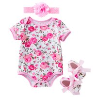 Wholesale zebra print baby clothing resale online - Baby Floral Romper Suit Zebra Leopard Printed Onesies Infant Baby Newborn Girls Casual Clothes Striped Baby Clothes Ropa Bebe