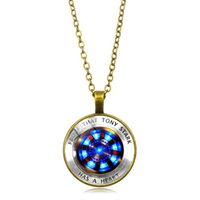 Wholesale gold white gem pendants resale online - Marvel Iron Man Tony Stark Heart Necklace Creative Arc Reactor A Generation Time Gem Chain Necklace The Avengers Jewelry