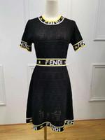 vertikale linien kleider großhandel-Frauen Sexy Marke Strickkleid Mode Gedruckt FF Brief Kurzarm Dünnes Kleid Frauen Stretch Strickkleider Womens Sommer Aushöhlen Kleid