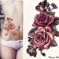 Wholesale eauty Health beauty piece make up Fake temporary tattoos stickers rose flowers arm shoulder tattoo waterproof women big flash tattoo o