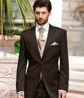 groomsmen colete jaqueta marrom escuro venda por atacado-Mais recente Dark Brown Brown Mens Jantar Partido Prom Terno Noivo Smoking Padrinhos Casamento Blazer Ternos 2019 (Jacket + Pants + Vest + Tie)