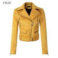 veste en cuir jaune dames achat en gros de-FTLZZ Femmes Faux Cuir Doux Veste En Daim Jaune Vert Manteau Lady Moto Punk Noir Veste Court Zipper Conception Daim Manteaux