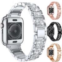 Wholesale Suitable for apple three beads Diamond strap apple watch metal full diamond stainless steel metal belt