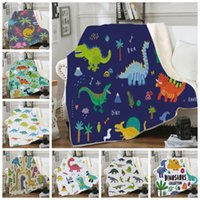 Wholesale dinosaur fleece resale online - Throw Blanket Dinosaur Sherpa Fleece Blankets Kids Animal Dinosaurs Blankets Durable Cozy Sofa Bed Rug Christmas Gift Designs DW4357