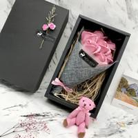 buquê de flores de cravo venda por atacado-Dia Bouquet Rose Valentine Sabão presente de aniversário Dia da flor do cravo da de sabão Flores Set Gift Box mãe para namorada