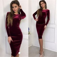 Wholesale clothings for sale - Group buy Spring Autumn Women Bandage Bodycon Dresses Casual Long Sleeve O neck Evening Party Sexy Velvet Dress Sundress Clothes Clothings