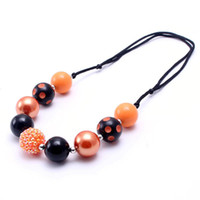 Wholesale girls chunky necklaces for sale - Group buy Adjusted Rope Kid Chunky Necklace Orange Black Color Halloween Toddlers Girls Bubblegum Bead Chunky Necklace Jewelry For Children