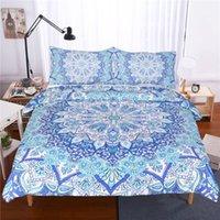 blaue muster bettwäsche groihandel-3 Stück Bohemian Bettwäsche-Set Floral Paisley-Muster-Bettbezug-Set Sky Blue Hippie Mandala Bedspread Queen Size