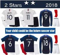 Wholesale set army boy online - TOP sale MBAPPE Kids Kit student THAUVIN GRIEZMANN Kids Uniforms DEMBELE POGBA Children Soccer Sets SOCKS Youth Short Jersey