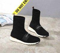 привет топ-бренды оптовых-Фирменные женские Hi-top черные эластичные текстильные ботинки Aftergame дизайнер ботинок леди письмо вышитые легкие резиновые подошвы обуви
