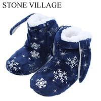 niños zapatillas de navidad al por mayor-Niños Niñas Niños Navidad Zapatillas de Copo de nieve Zapatilla Suave y Cálido antideslizante Winter House Boot Calcetines 2-7 Años