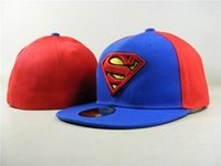 karikatür şapkalı şapkalar toptan satış-Moda Superman Donatılmış Şapkalar Gorras Düz Ağız Şapkalar Karikatür Masculino Superman Boyutu Kap Chapeau Homme Mens Womens Spor Gorras