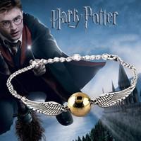 pulseras conmemorativas al por mayor-Nueva llegada Quidditch Golden Snitch pulsera de bolsillo Harry Charm Pulseras Alas Potter Cintage Muñequera Joyería Fina Plata y coppe A5021