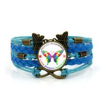 encantos de autismo al por mayor-2019 Nuevo Braid Autism Awareness Leather Bracelet Butterfly Puzzle Charm pulseras Autism Heart pulsera para los hombres joyería