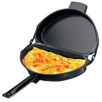 Wholesale pan side resale online - Unique Design Non Stick Folding Omelette Pan Hand Frying Pan Stainless Iron Double Side Grill Pan