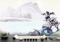 Wholesale solid ink printing online - Customized new Chinese ink painting HD Gongbi landscape abstract gold lines background wall wallpaper