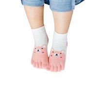 niños calcetines dedos de los pies al por mayor-1 pares de dedos del pie lindo oso de dibujos animados cinco calcetines niños calcetines de los niños calcetería cinco dedos del pie malla transpirable 3-12 años