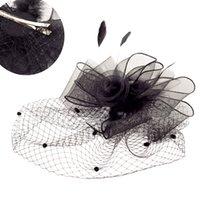 fascinators pretos para casamentos venda por atacado-Tocados Sombreros Bodas Elegante Preto Mulher Chapéus De Casamento Com Clip Fascinators Pena Para Casamentos Acessórios De Noiva