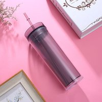 Wholesale plastic wall covers resale online - DHL oz Acrylic tumbler insulated double walled Juice cup plastic cups coffee tumblers with two layer straw lid cover