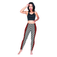 siyah şerit tozluk toptan satış-Kadın Tayt Dama Tahtası Izgara Kırmızı Siyah Çizgili 3D Dijital Baskı Spor Kalem Pantolon Lady Skinny Jeggings Kız Spor Pantolon (Y54005)