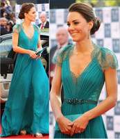 Wholesale kate middleton chiffon evening dresses resale online - Jenny Packham Sexy V Neck Cap Sleeves Formal Evening Gowns Sheer Button Back Chiffon Lace Kate Middleton Celebrity Dresses EWL218