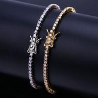 bracelets en diamant pavé achat en gros de-Glacé Out Chaînes Diamant Tennis Bracelet Hommes Hip Hop Bijoux 18k Plaqué Or Bracelets Micro Pavé CZ Étincelant Bracelet De Luxe Bracelet Wrap
