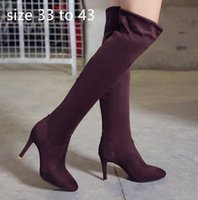 Wholesale faux suede knee high boots resale online - designer over the knee thigh high boot fashion luxury designer women shoes winter boots colors size to