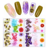 diy herzförmige kiste großhandel-Bunte getrocknete Blume Nail Art Dekoration gemischt konservierte Blume mit herzförmigen Box brauchen UV-Gel-Polnisch 3D-Dekoration DIY