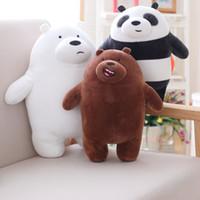 graues bärenspielzeug großhandel-Der Kawaii. Cartoon Bär Plüsch Panda Bär Plüschtier Puppe Grau Weiß Grizzly Bär Geburtstagsgeschenk Kinder lieben