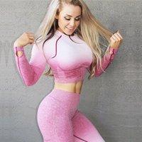traje sin costura al por mayor-2 Pcs Yoga cultivos fijaron a las mujeres de manga larga Traje tapa y de talle alto control de la panza Deporte polainas gimnasia Ropa Ombre inconsútil del deporte