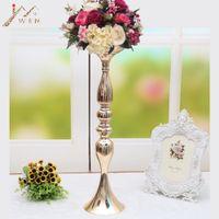 Wholesale led light stick lamp for sale - 10 Gold Candle Holders CM quot Flower Vase Candlestick Wedding Decoration Table Centerpieces Flower Rack Road Lead