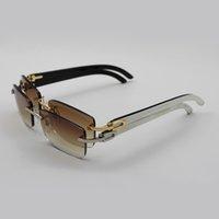 beste sonnenbrille für männer großhandel-Luxus Sonnenbrille Buffalo Horn Brille Männer Frauen Sonnenbrille Markendesigner Beste Qualität Weiß Innerhalb Schwarz Buffalo Horn