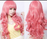 ingrosso capelli lunghi anime cosplay-Parrucca spedizione gratuita Pretty Lolita Harajuku Style Long Curly Pink Wig Anime Animation Cosplay Hair