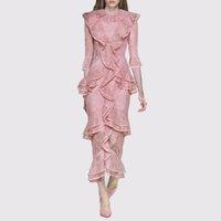 ingrosso vestito da pista di modo del progettista-New Fashion 2019 Designer Runway Dress Abito da donna a mezza manica a sirena in pizzo rosa con volant a cascata