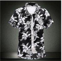 vestido informal hawai al por mayor-2019 Camisa hawaiana para hombre de manga corta para hombre camisas de vestir Slim Fit Camisa Masculina Verano Hawaii Casual camisa de estampado de flores masculino