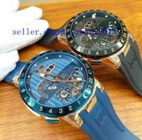 çok işlevli kol saati toptan satış-Erkek lüks askeri Üstün UN El Toro Daimi Takvim GMT ÇOK FONKSIYONLARı Mavi Dial Kauçuk Moda Erkek İş Saatı