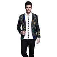 blazers para homem venda por atacado-Blazers de impressão dos homens africanos roupas slim fit ankara moda paletó personalizado para o casamento desgaste masculino formal casaco