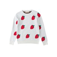 Wholesale strawberry baby girl clothes resale online - 1 T Girls Clothes Knit Round Neck Pullover Strawberry Princess Bottoming Sweater For Baby
