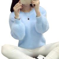пуловеры из меха оптовых-Женские пуловеры Femme Pull Свитера и пуловеры Кашемировый свитер Трикотажный корейский зимний теплый розовый свитер Джемпер из мохерового меха