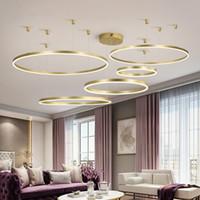 Wholesale adjustable led lighting pendants for sale - Group buy Modern LED Creative Gold Chandeliers Adjustable Ring Pendant Lights For Living Room Round Hanging Lamp Dining Room Hotel Loft Supension Lamp
