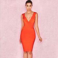 vino rojo al por mayor-Vestido sexy Vestido de fiesta Club Wear Nuevas llegadas Sin mangas Naranja Vino tinto Mujeres Vestidos de vendaje Vestidos ajustados