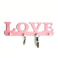 Wholesale pink clothes hangers for sale - Group buy Vintage Pink Love Coat Hat Key Holder Hooks Clothes Bag Robe Mount Screw Wall Rack Door Bathroom Home Decor Hanger