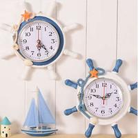 relógios de flores de acrílico venda por atacado-Decoração de Casa casada Mar Mediterrâneo vela relógio de parede relógio agulha única face Navio âncora helmsman reloj salão T0.2