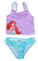 trajes de sereia venda por atacado-Princesa bonito Crianças Bebê Menina Sereia Swimwear Camis Bikini Set Rendas Swimsuit Natação Swimmable Maiô Beachwear