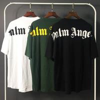 футболки с большим тиснением оптовых-Palm Angels футболка белые черные буквы с принтом летние футболки мужчины женщины футболка большого размера хип-хоп уличные топы футболки LXG1203
